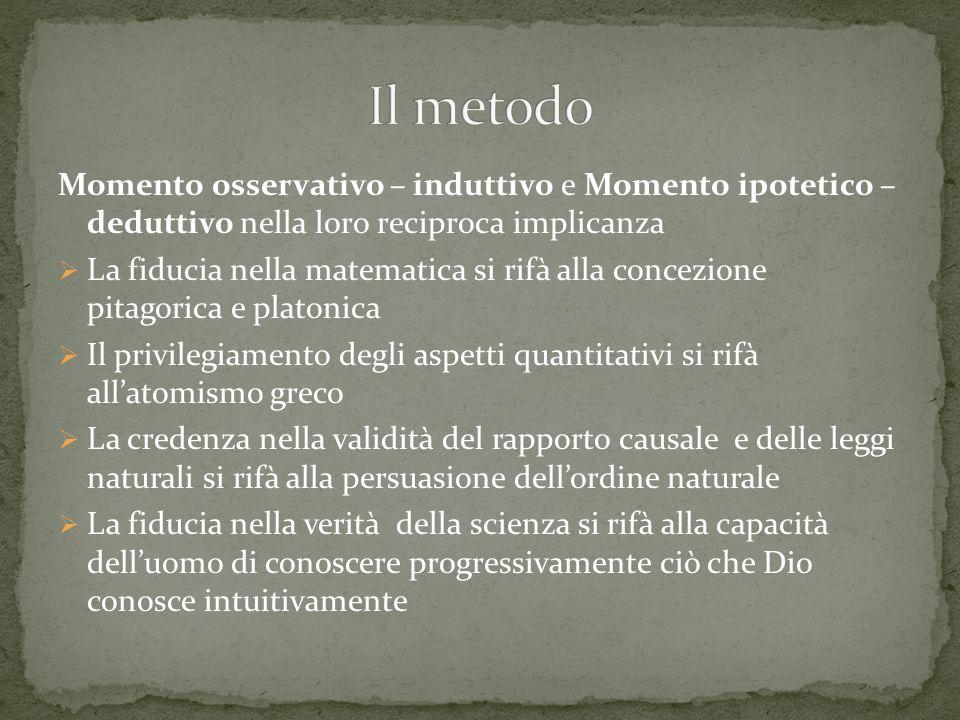 Momento risolutivo o analitico Risolvere un fenomeno nei suoi elementi semplici costitutivi, misurandoli ed elaborando unipotesi Momento compositivo o