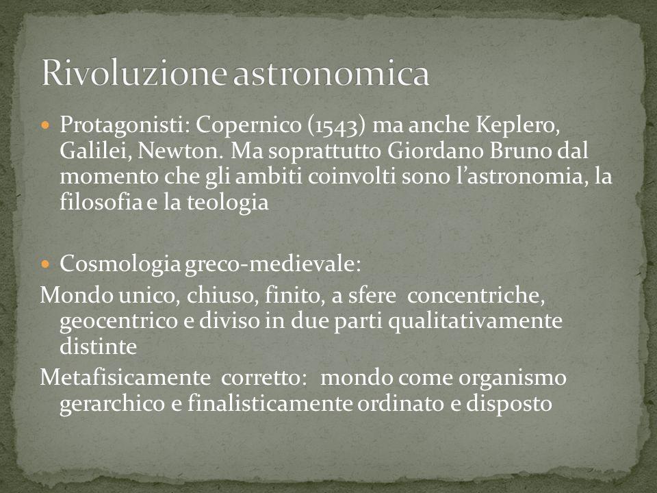 Protagonisti: Copernico (1543) ma anche Keplero, Galilei, Newton.
