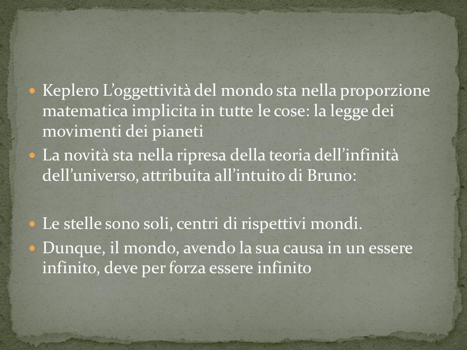 Keplero Loggettività del mondo sta nella proporzione matematica implicita in tutte le cose: la legge dei movimenti dei pianeti La novità sta nella ripresa della teoria dellinfinità delluniverso, attribuita allintuito di Bruno: Le stelle sono soli, centri di rispettivi mondi.