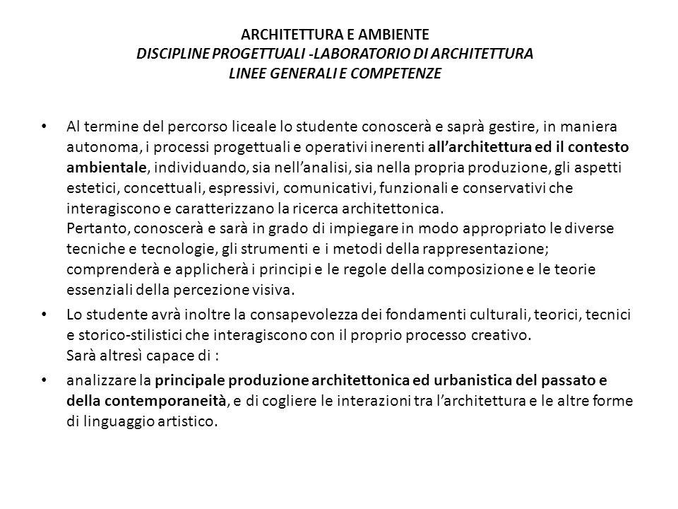 ARCHITETTURA E AMBIENTE DISCIPLINE PROGETTUALI -LABORATORIO DI ARCHITETTURA LINEE GENERALI E COMPETENZE Al termine del percorso liceale lo studente co