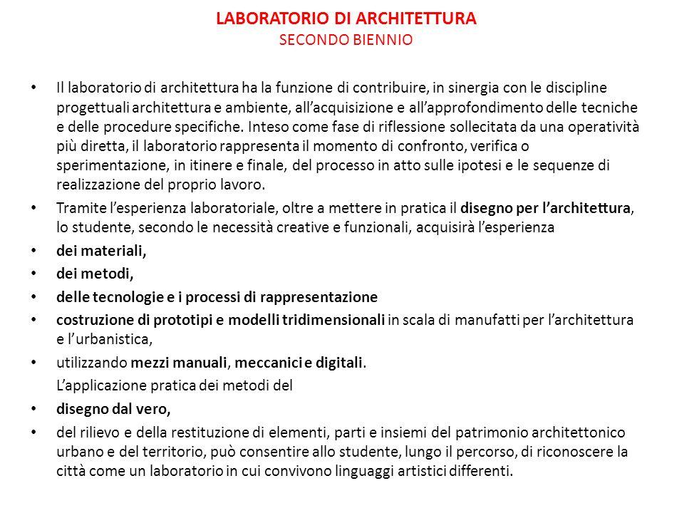 LABORATORIO DI ARCHITETTURA SECONDO BIENNIO Il laboratorio di architettura ha la funzione di contribuire, in sinergia con le discipline progettuali ar