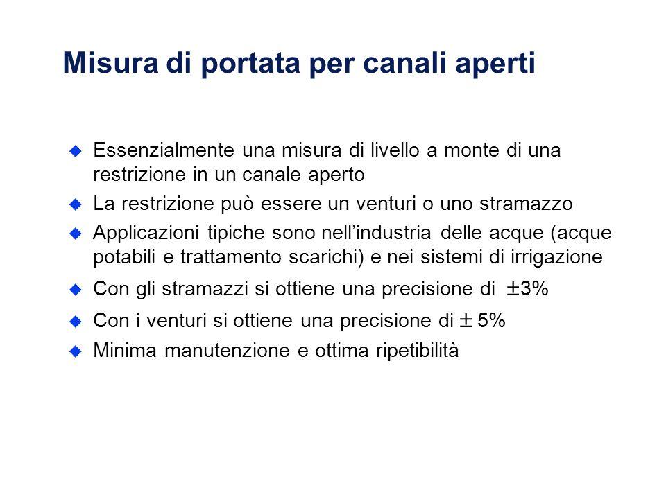 Misura di portata per canali aperti u Essenzialmente una misura di livello a monte di una restrizione in un canale aperto u La restrizione può essere