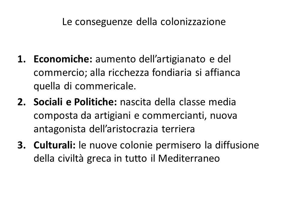 Le conseguenze della colonizzazione 1.Economiche: aumento dellartigianato e del commercio; alla ricchezza fondiaria si affianca quella di commericale.