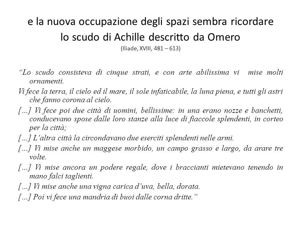 e la nuova occupazione degli spazi sembra ricordare lo scudo di Achille descritto da Omero (Iliade, XVIII, 481 – 613) Lo scudo consisteva di cinque st