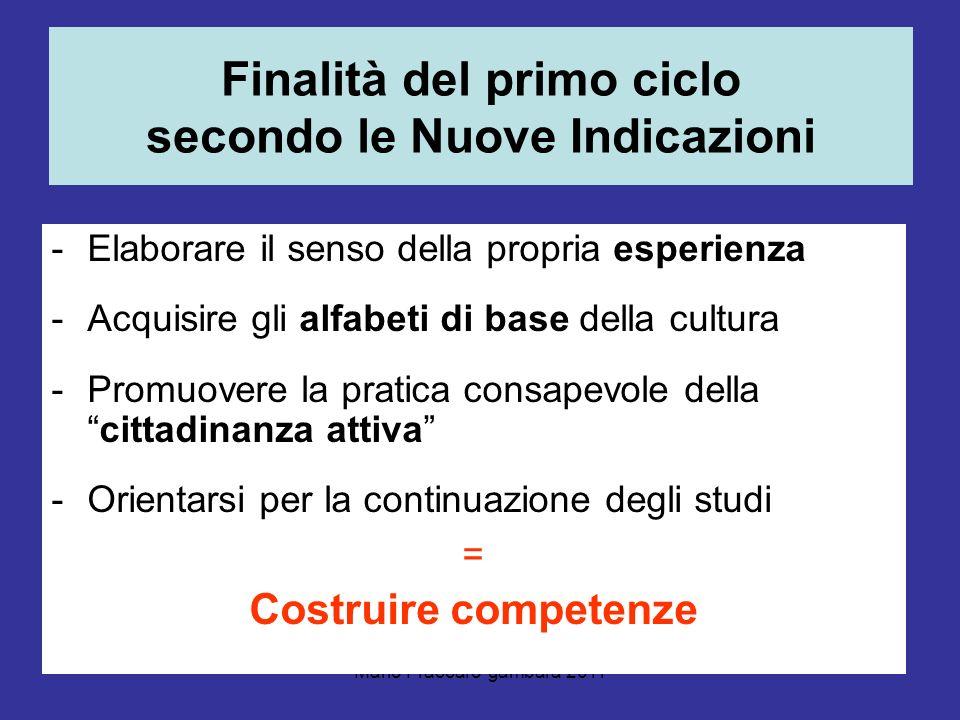 Mario Fraccaro-gambara 2011 Finalità del primo ciclo secondo le Nuove Indicazioni -Elaborare il senso della propria esperienza -Acquisire gli alfabeti