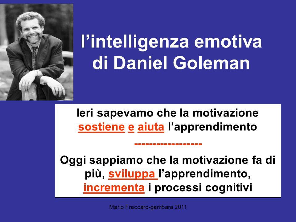 Mario Fraccaro-gambara 2011 lintelligenza emotiva di Daniel Goleman Ieri sapevamo che la motivazione sostiene e aiuta lapprendimento -----------------