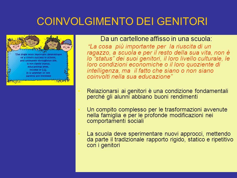 COINVOLGIMENTO DEI GENITORI Da un cartellone affisso in una scuola: La cosa più importante per la riuscita di un ragazzo, a scuola e per il resto dell