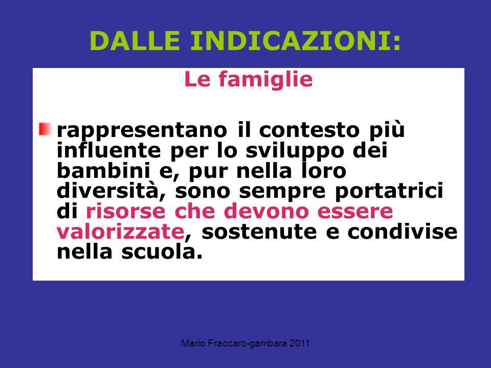 Mario Fraccaro-gambara 2011 DALLE INDICAZIONI: Le famiglie rappresentano il contesto più influente per lo sviluppo dei bambini e, pur nella loro diver