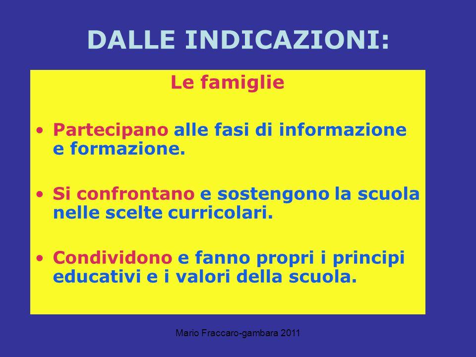 Mario Fraccaro-gambara 2011 DALLE INDICAZIONI: Le famiglie Partecipano alle fasi di informazione e formazione. Si confrontano e sostengono la scuola n