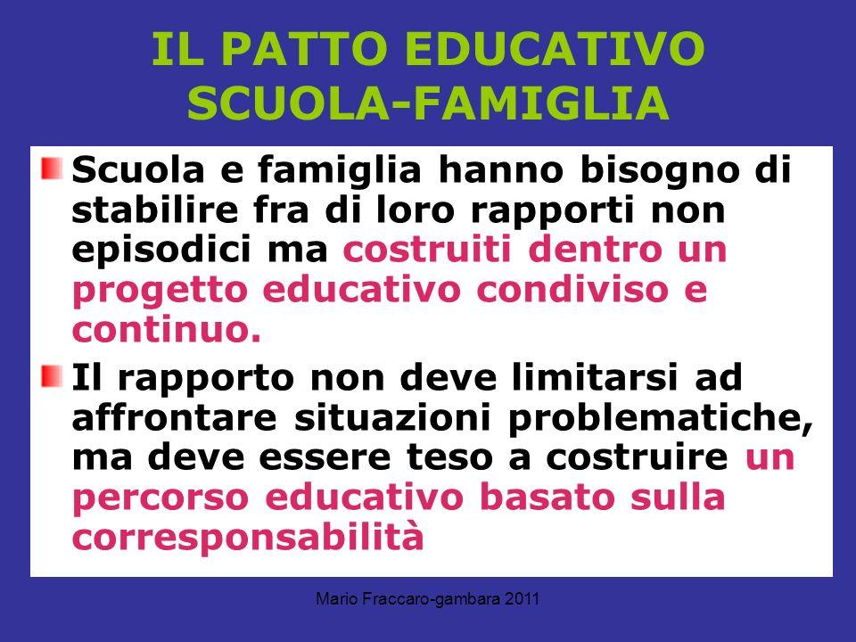 Mario Fraccaro-gambara 2011 IL PATTO EDUCATIVO SCUOLA-FAMIGLIA Scuola e famiglia hanno bisogno di stabilire fra di loro rapporti non episodici ma cost