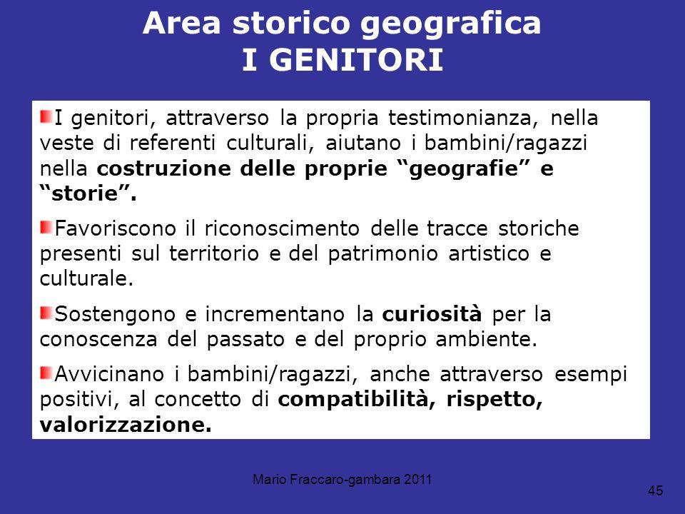 Mario Fraccaro-gambara 2011 45 Area storico geografica I GENITORI I genitori, attraverso la propria testimonianza, nella veste di referenti culturali,