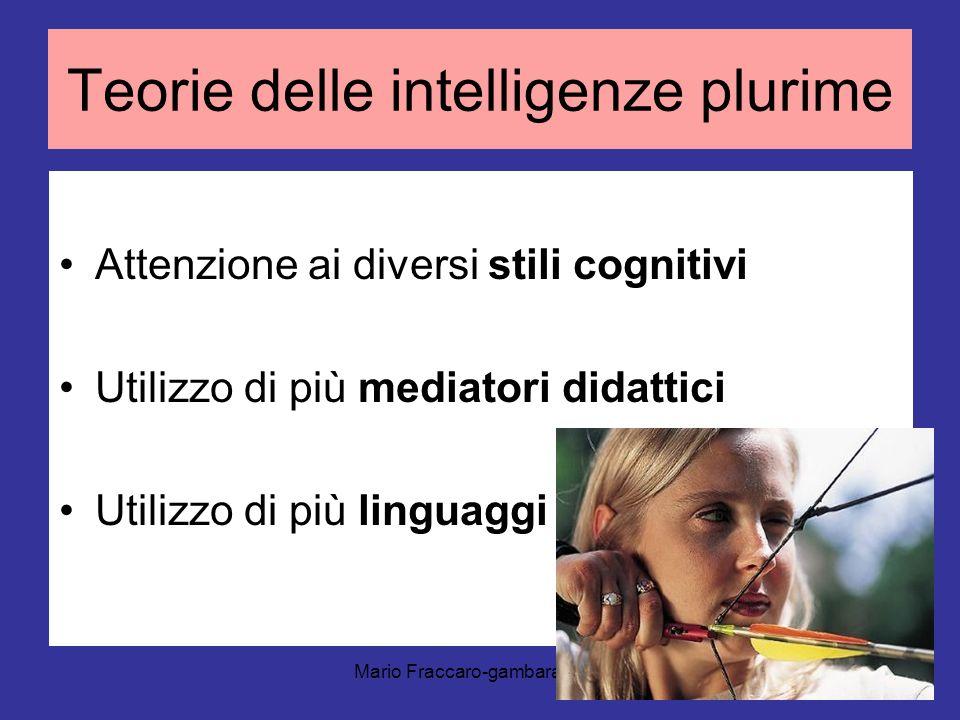 Mario Fraccaro-gambara 2011 Teorie delle intelligenze plurime Attenzione ai diversi stili cognitivi Utilizzo di più mediatori didattici Utilizzo di pi