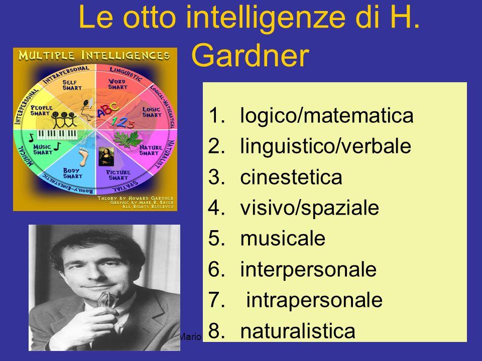 Mario Fraccaro-gambara 2011 Le otto intelligenze di H. Gardner 1.logico/matematica 2.linguistico/verbale 3.cinestetica 4.visivo/spaziale 5.musicale 6.