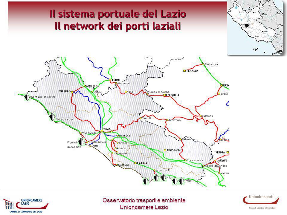 Osservatorio trasporti e ambiente Unioncamere Lazio Il sistema portuale del Lazio Il network dei porti laziali Il network dei porti laziali si costituisce a seguito dellallargamento della circoscrizione territoriale dell Autorità Portuale di Civitavecchia a Fiumicino e Gaeta.