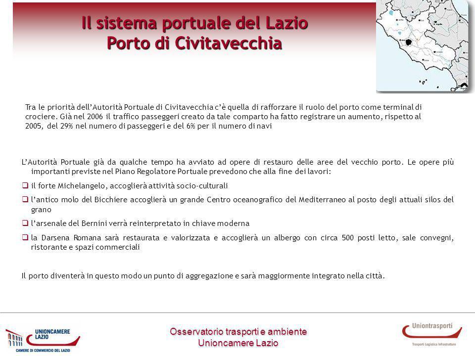 Osservatorio trasporti e ambiente Unioncamere Lazio Il sistema portuale del Lazio Porto di Civitavecchia LAutorità Portuale già da qualche tempo ha av