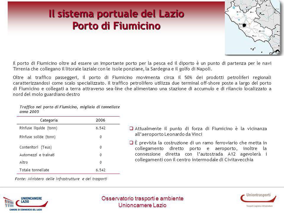 Osservatorio trasporti e ambiente Unioncamere Lazio Il sistema portuale del Lazio Porto di Fiumicino Il porto di Fiumicino oltre ad essere un importan
