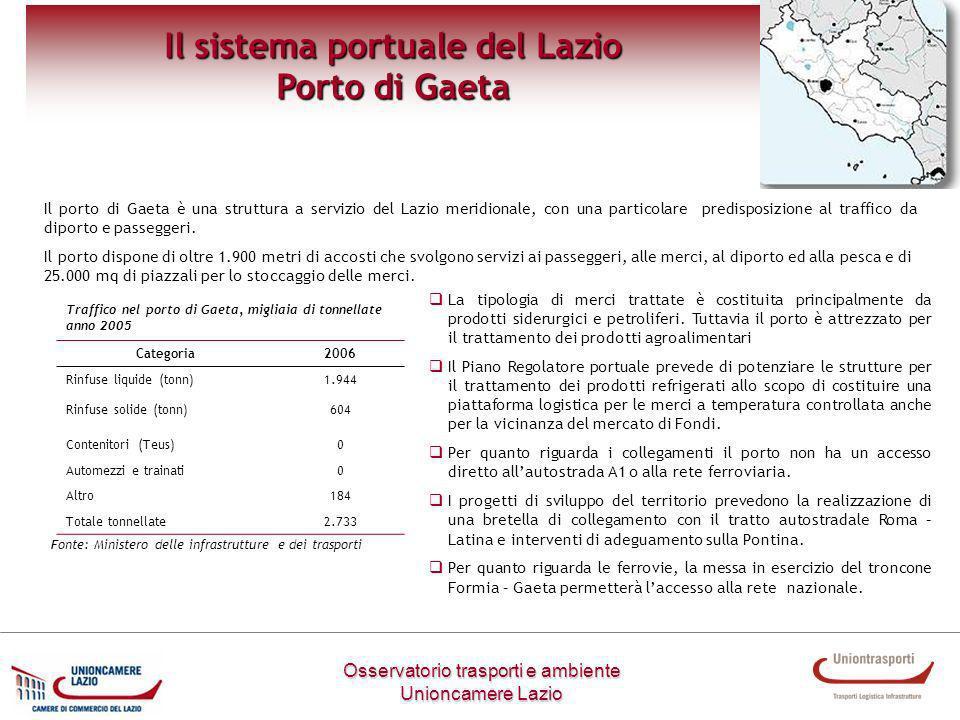 Osservatorio trasporti e ambiente Unioncamere Lazio Il sistema portuale del Lazio Porto di Gaeta Il porto di Gaeta è una struttura a servizio del Lazi