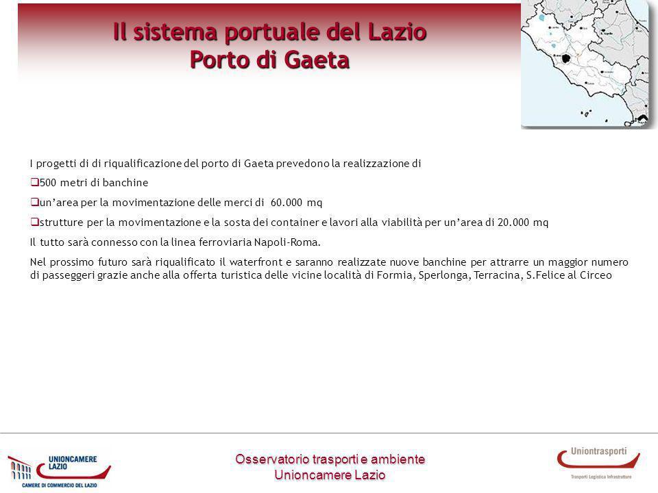 Osservatorio trasporti e ambiente Unioncamere Lazio Il sistema portuale del Lazio Porto di Gaeta I progetti di di riqualificazione del porto di Gaeta