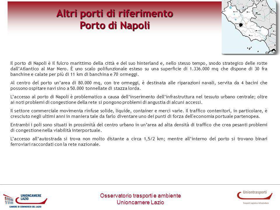 Osservatorio trasporti e ambiente Unioncamere Lazio Altri porti di riferimento Porto di Livorno Lo specchio acqueo del porto di Livorno si estende per 1.600.000 metri quadri, mentre la superficie terrestre è pari a 2.500.000 metri quadri, 800.000 dei quali si trovano allinterno dei varchi doganali.