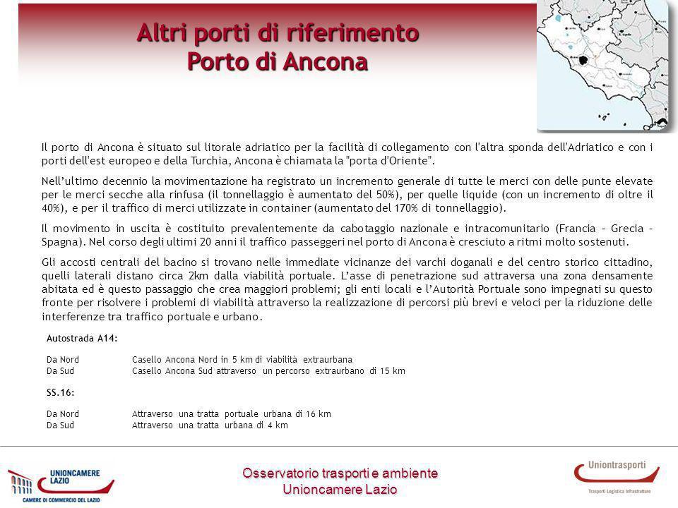 Osservatorio trasporti e ambiente Unioncamere Lazio Altri porti di riferimento Porto di Ancona Il porto di Ancona è situato sul litorale adriatico per
