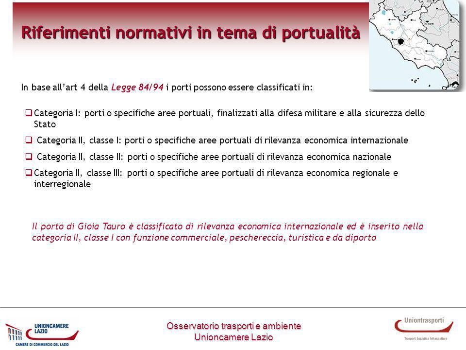 Osservatorio trasporti e ambiente Unioncamere Lazio Riferimenti normativi in tema di portualità In base allart 4 della Legge 84/94 i porti possono ess