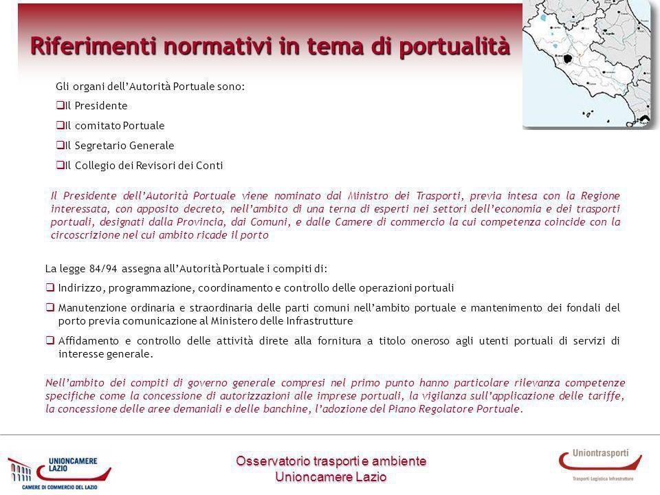 Osservatorio trasporti e ambiente Unioncamere Lazio Riferimenti normativi in tema di portualità La legge 84/94 assegna allAutorità Portuale i compiti
