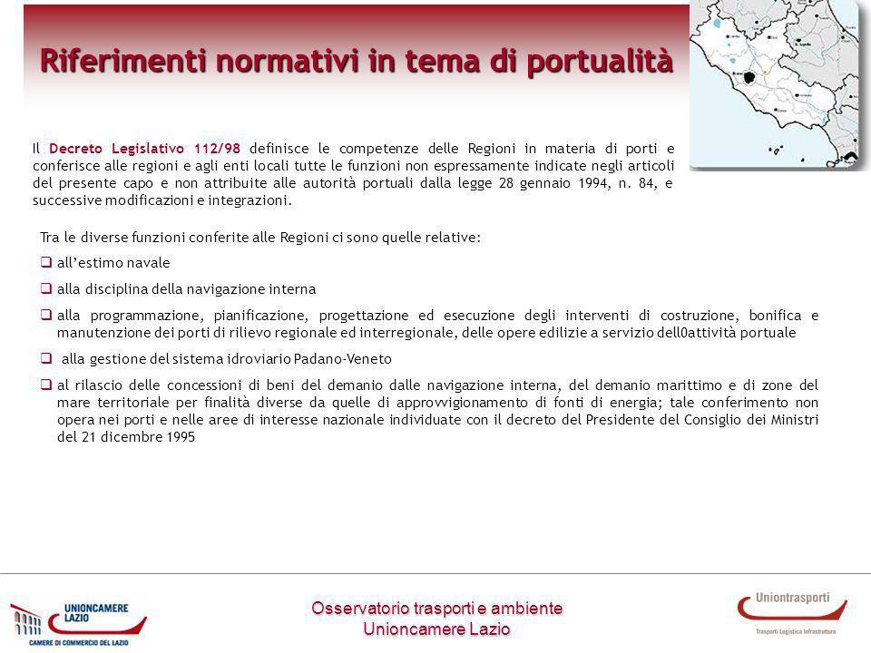 Osservatorio trasporti e ambiente Unioncamere Lazio Riferimenti normativi in tema di portualità Il Decreto Legislativo 112/98 definisce le competenze