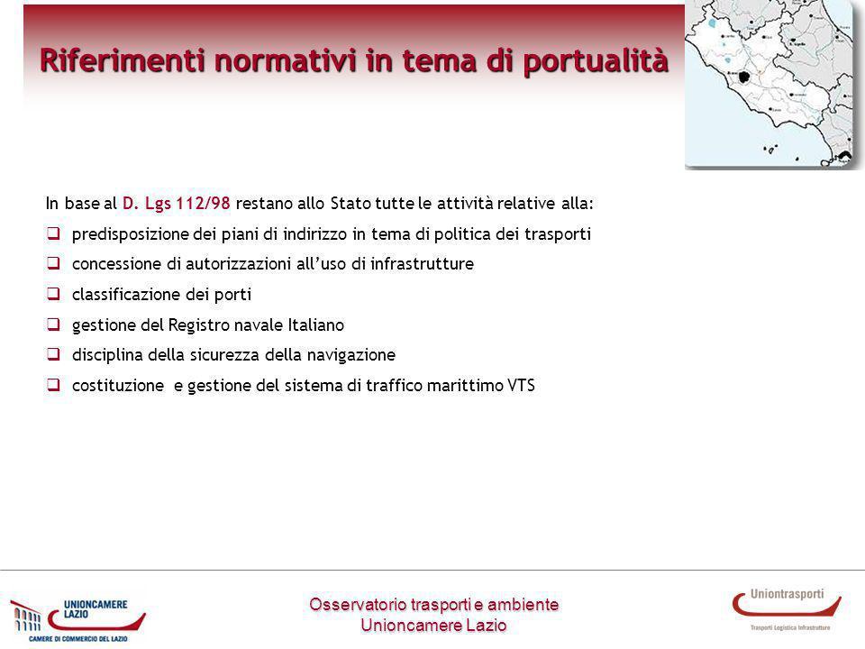 Osservatorio trasporti e ambiente Unioncamere Lazio Riferimenti normativi in tema di portualità In base al D. Lgs 112/98 restano allo Stato tutte le a