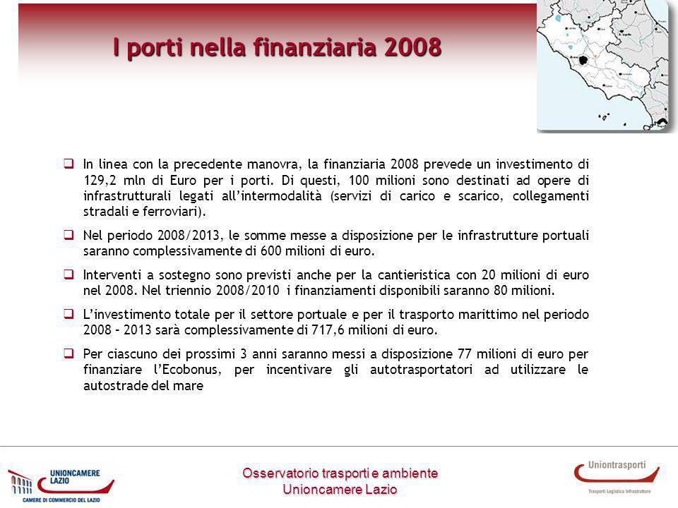 Osservatorio trasporti e ambiente Unioncamere Lazio I porti nella finanziaria 2008 In linea con la precedente manovra, la finanziaria 2008 prevede un