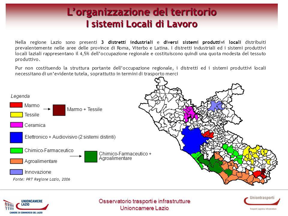 Osservatorio trasporti e infrastrutture Unioncamere Lazio Lorganizzazione del territorio I sistemi Locali di Lavoro Nella regione Lazio sono presenti