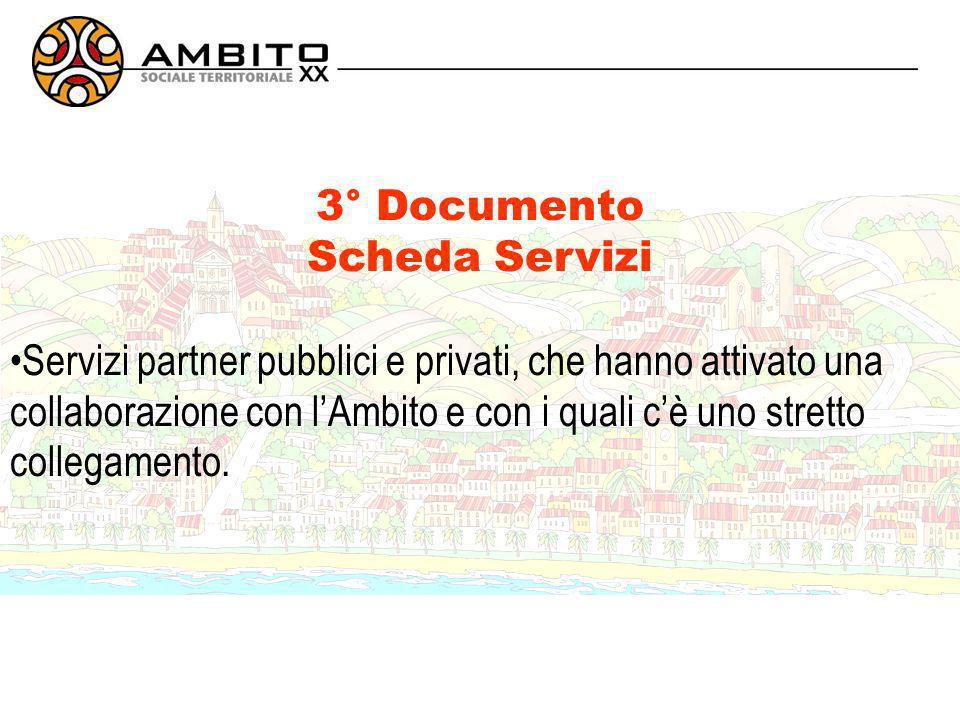 3° Documento Scheda Servizi Servizi partner pubblici e privati, che hanno attivato una collaborazione con lAmbito e con i quali cè uno stretto collegamento.