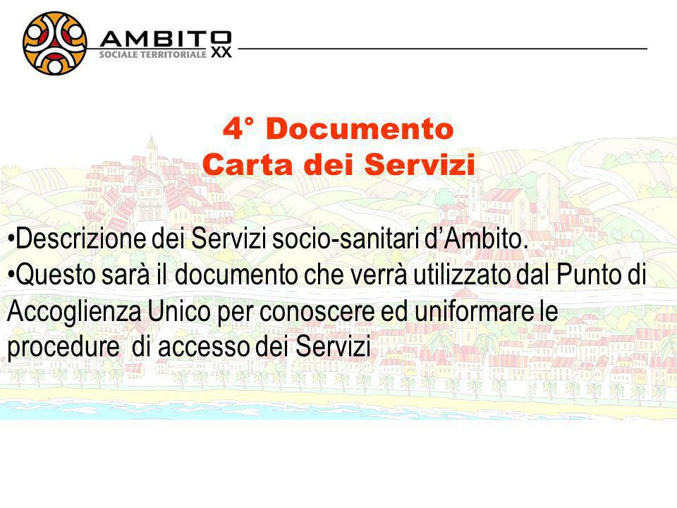 4° Documento Carta dei Servizi Descrizione dei Servizi socio-sanitari dAmbito.