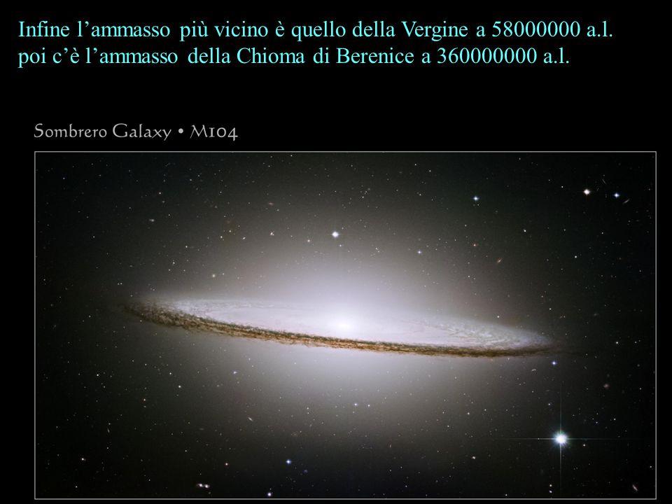 Infine lammasso più vicino è quello della Vergine a 58000000 a.l. poi cè lammasso della Chioma di Berenice a 360000000 a.l.