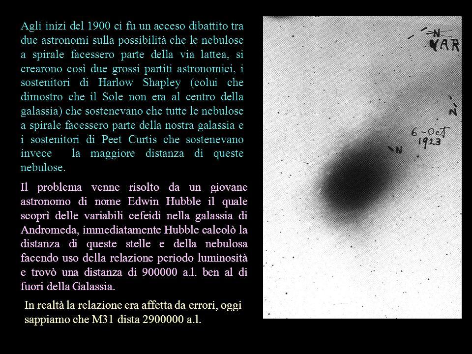 Agli inizi del 1900 ci fu un acceso dibattito tra due astronomi sulla possibilità che le nebulose a spirale facessero parte della via lattea, si crear
