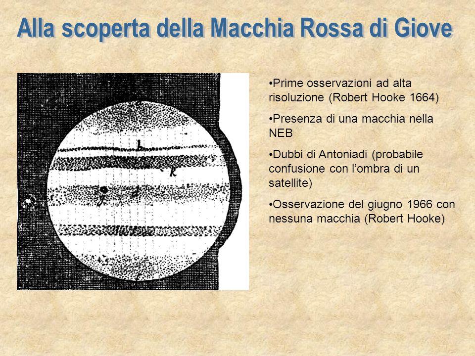 La prima osservazione della macchia rossa è da imputare a DIVINI e fu effettuata da Roma il 9 luglio 1665 La prima sequenza di osservazioni della macchia rossa è di CASSINI e fu effettuata da Città della Pieve nellautunno del 1665