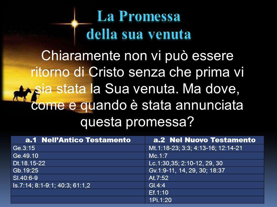a.1 NellAntico Testamentoa.2 Nel Nuovo Testamento Ge.3:15Mt.1:18-23; 3:3; 4:13-16; 12:14-21 Ge.49.10Mc.1:7 Dt.18.15-22Lc.1:30,35; 2:10-12, 29, 30 Gb.1