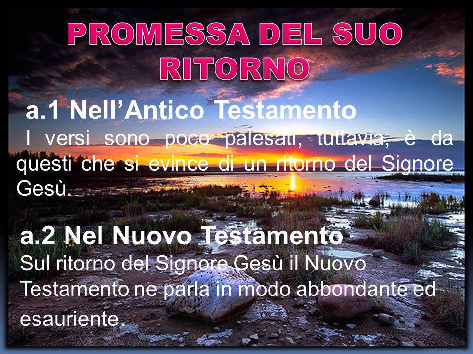 a.1 NellAntico Testamento I versi sono poco palesati, tuttavia, è da questi che si evince di un ritorno del Signore Gesù. a.2 Nel Nuovo Testamento Sul