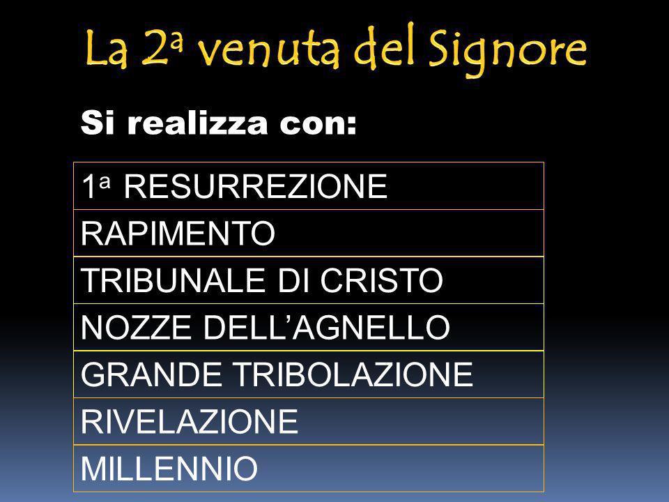Si realizza con: 1 a RESURREZIONE MILLENNIO GRANDE TRIBOLAZIONE RIVELAZIONE RAPIMENTO TRIBUNALE DI CRISTO NOZZE DELLAGNELLO