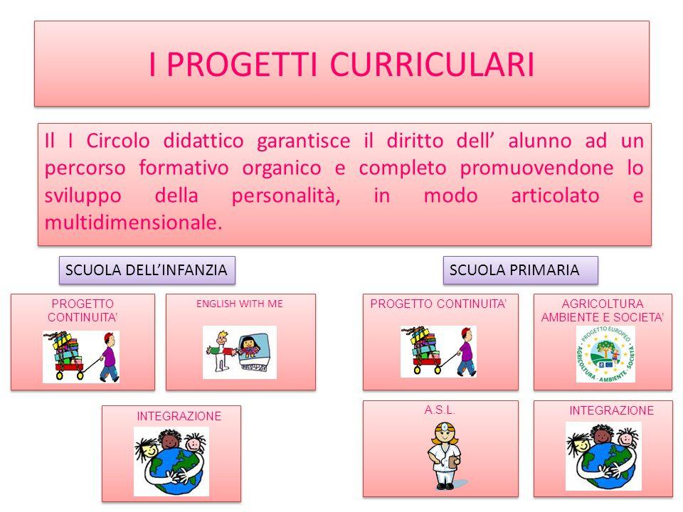 I PROGETTI CURRICULARI Il I Circolo didattico garantisce il diritto dell alunno ad un percorso formativo organico e completo promuovendone lo sviluppo della personalità, in modo articolato e multidimensionale.