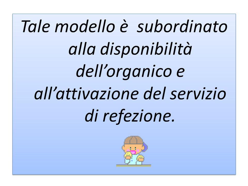 Tale modello è subordinato alla disponibilità dellorganico e allattivazione del servizio di refezione.