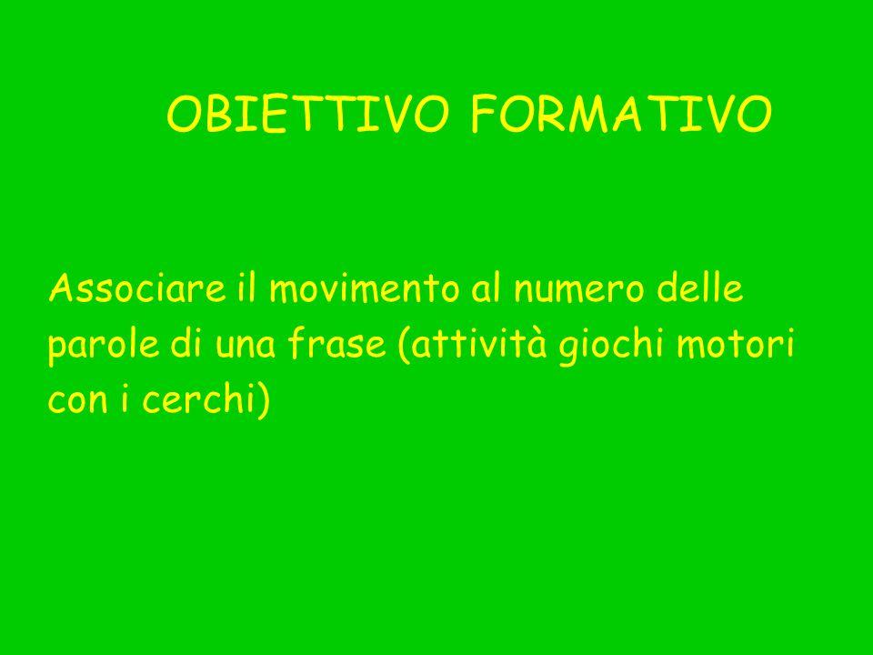 OBIETTIVO FORMATIVO Associare il movimento al numero delle parole di una frase (attività giochi motori con i cerchi)