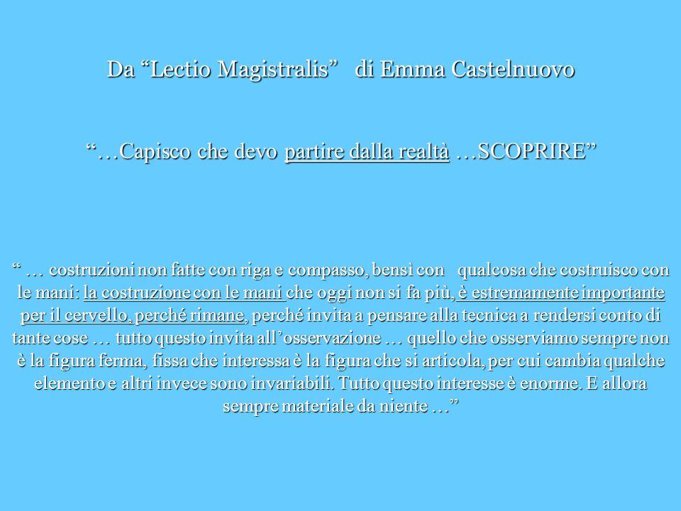 Da Lectio Magistralis di Emma Castelnuovo …Capisco che devo partire dalla realtà …SCOPRIRE … costruzioni non fatte con riga e compasso, bensì con qual