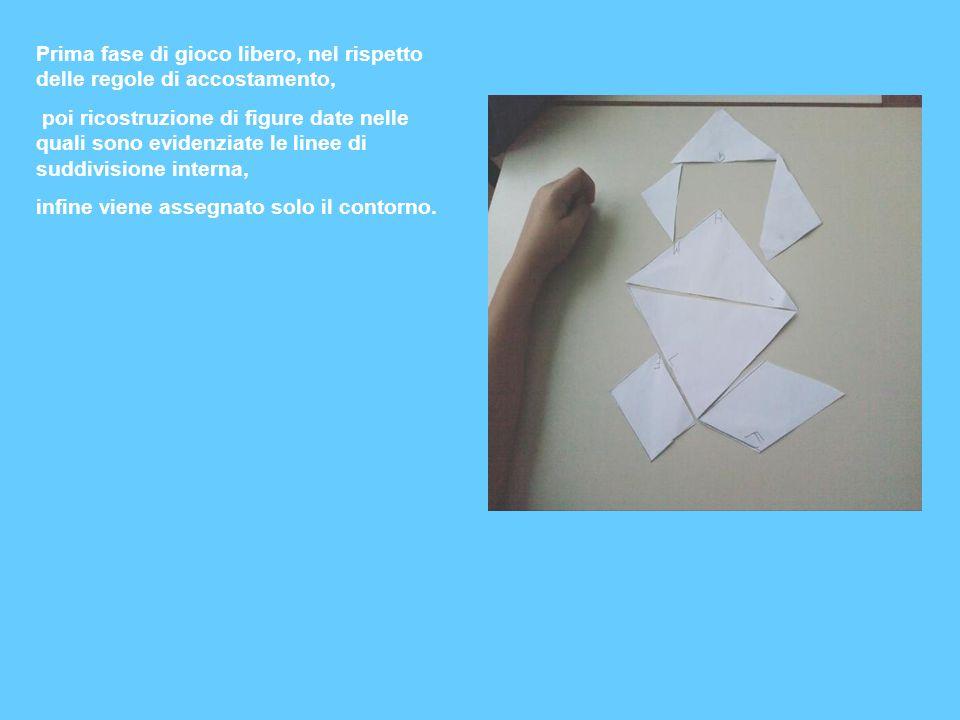 Prima fase di gioco libero, nel rispetto delle regole di accostamento, poi ricostruzione di figure date nelle quali sono evidenziate le linee di suddi