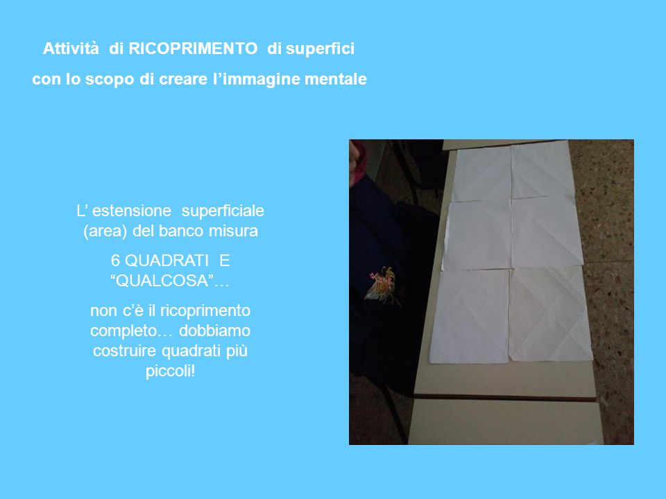 Attività di RICOPRIMENTO di superfici con lo scopo di creare limmagine mentale L estensione superficiale (area) del banco misura 6 QUADRATI E QUALCOSA
