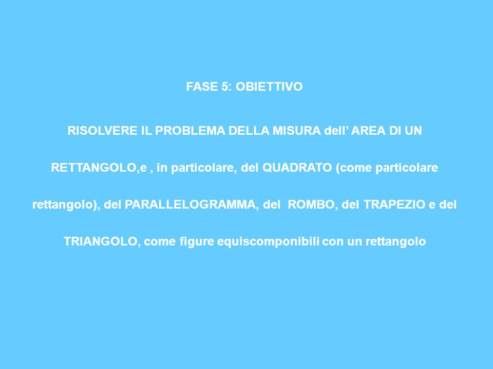 FASE 5: OBIETTIVO RISOLVERE IL PROBLEMA DELLA MISURA dell AREA DI UN RETTANGOLO,e, in particolare, del QUADRATO (come particolare rettangolo), del PAR