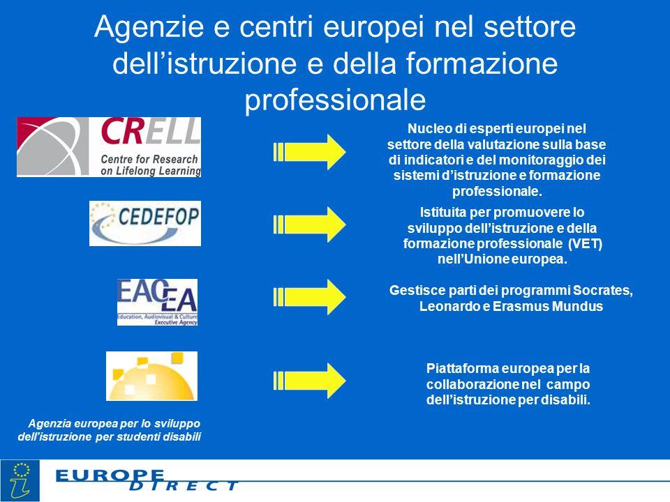Agenzie e centri europei nel settore dellistruzione e della formazione professionale Nucleo di esperti europei nel settore della valutazione sulla bas