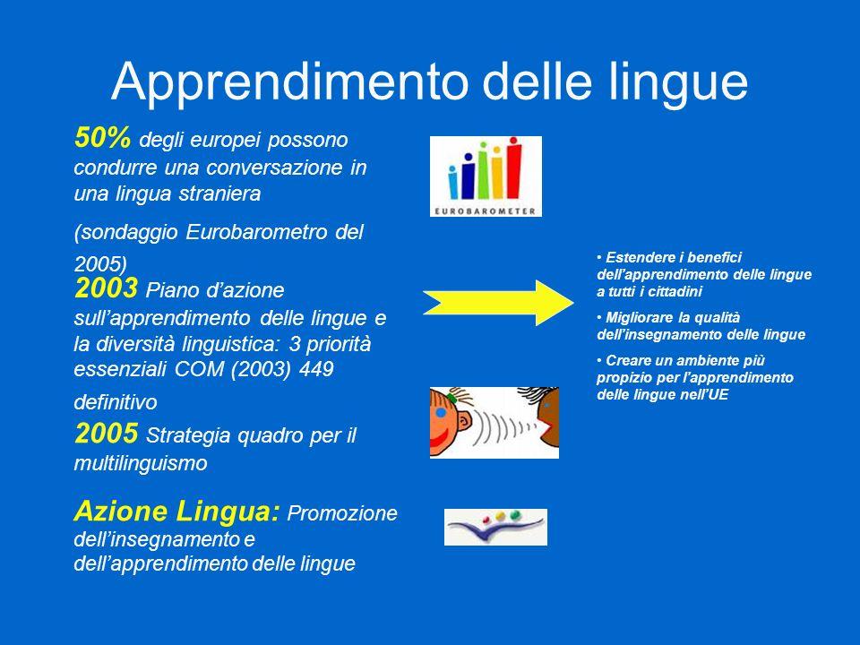Apprendimento delle lingue 50% degli europei possono condurre una conversazione in una lingua straniera (sondaggio Eurobarometro del 2005) 2003 Piano