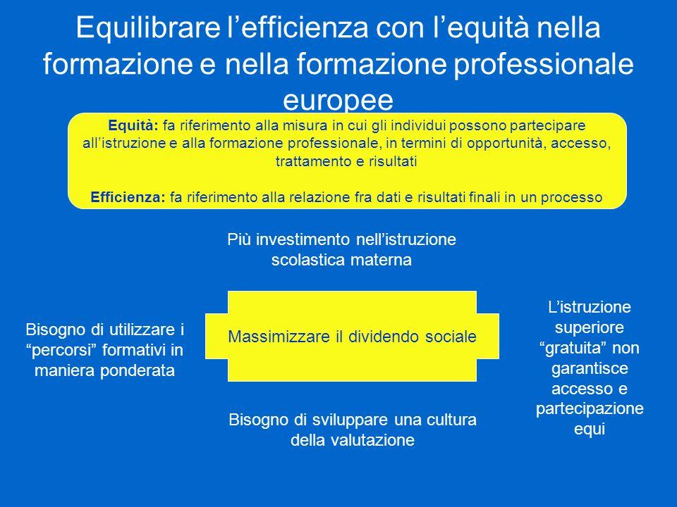 Equilibrare lefficienza con lequità nella formazione e nella formazione professionale europee Equità: fa riferimento alla misura in cui gli individui