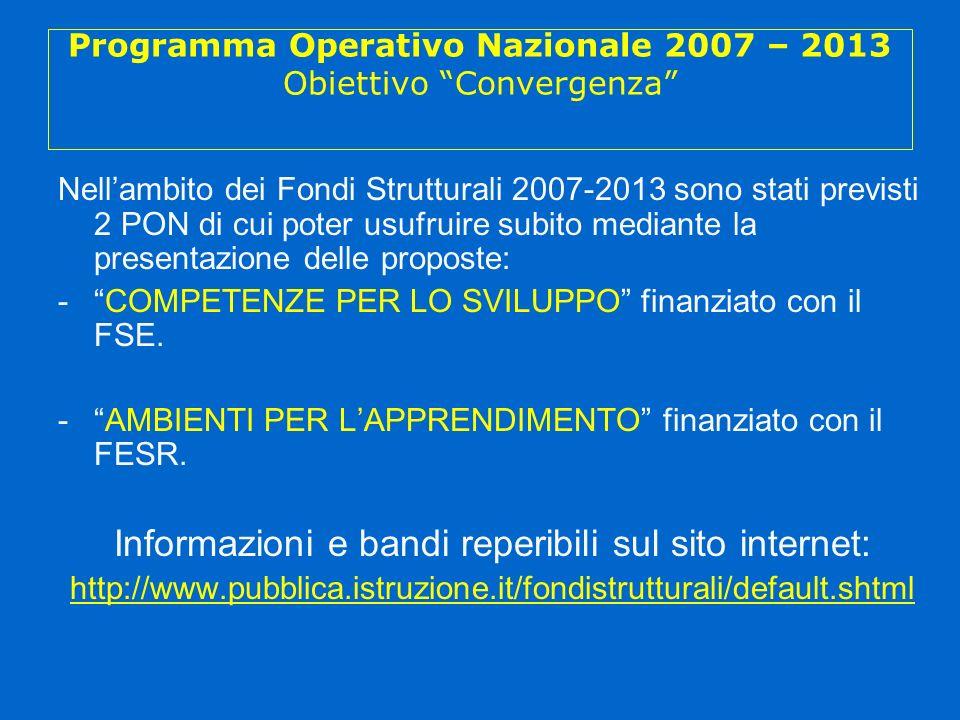 Programma Operativo Nazionale 2007 – 2013 Obiettivo Convergenza Nellambito dei Fondi Strutturali 2007-2013 sono stati previsti 2 PON di cui poter usufruire subito mediante la presentazione delle proposte: -COMPETENZE PER LO SVILUPPO finanziato con il FSE.