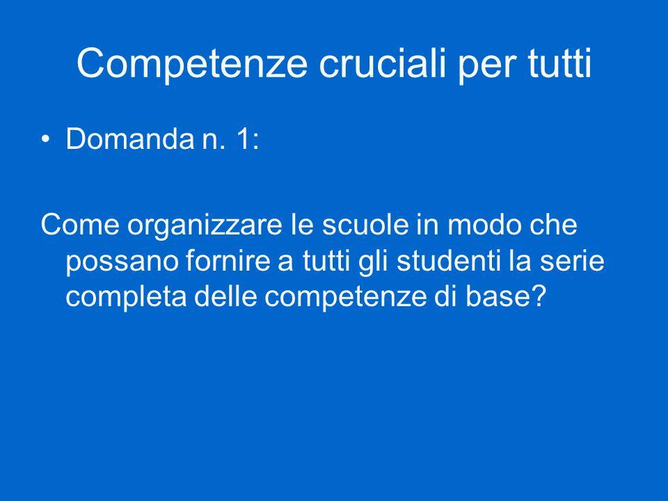 Competenze cruciali per tutti Domanda n. 1: Come organizzare le scuole in modo che possano fornire a tutti gli studenti la serie completa delle compet
